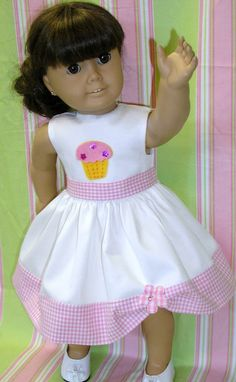 American Girl party dress 18 doll like Kit by NanaJerrisCreations, $22.00