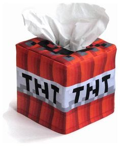 Minecraft-Inspired TNT Cube Tissue Box Cover by Snotty Bots - eclectic - kids decor - Etsy
