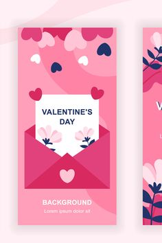 Love is in the air. Use Instagram Stories to send your Valentines Day message, greeting or invitation with this social media stories design template vector set. Background with copyspace. Available on @envato Elements.