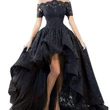 Personalizado charme Black Lace Evening Vestido Hi Low Sexy Off o Ombro Boat Neck Prom Vestido de Festa Vestidos Para Festa 2017 alishoppbrasil