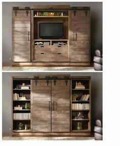 What a great piece of furniture from Arhaus. Tv Cabinets With Doors, Wood Cabinets, Cabinet Doors, Furniture Making, Cool Furniture, Furniture Design, Tv Escondida, Hidden Tv, Tv Storage