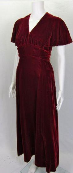 Vintage 1940 luxury red velvet long formal party dress For Sale | Antiques.com | Classifieds