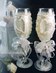 Wedding Wine Glass Set Bridal Shower Gift Wedding Glass Wedding Champagne Flute…