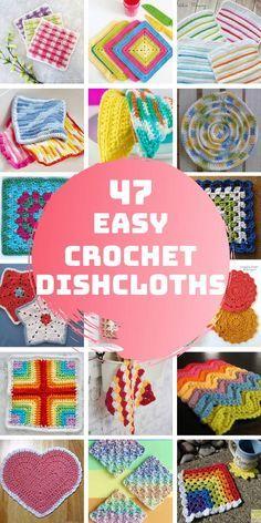 47 Fabulous Crochet Dishcloth Patterns {A great way to learn a new stitch!} 47 Fabulous Crochet Dishcloth Patterns {A great way to learn a new. Crochet Kitchen, Crochet Home, Crochet Gifts, Easy Crochet, Crochet Stitch, Loom Crochet, Afghan Crochet, Free Crochet, Crochet Patterns For Beginners