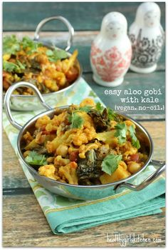 Easy Aloo Gobi with Kale Recipe. Vegan. No-oil.
