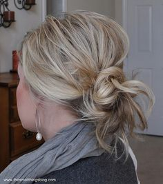 Messy bun...two rubber bands and a few bobby pins...