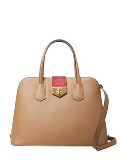 Saffiano Leather Turn-Lock Satchel from Go Neutral: Summer Accessories on Gilt