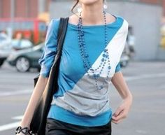 Boat Neck Batwing Sleeved Colorblocked Top