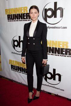 Jessica Biel in Dolce & Gabbana tuxedo-like blazer