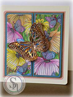 Designed by Sandie Gough Butterfly Image 2  Spectrum Noir AquaBlend Water Color Pencil:  Pink Tulip, Petunia, Dandelion, Pinenneedle, Sorrel, Nutmeg, Indigo, Regal Blue, Tabacco, Bottle Green, Kiwi, Cypress. #spectrumnoir #sparkle #crafterscompanion #craft #handmade