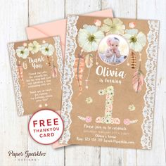 NEW RELEASE! This cute Daisy lace invitation is perfect for any Spring birthday! We design, you print. (Also available for a BABY SHOWER