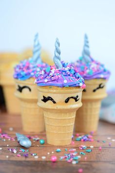 Unicorn Ice Cream Cone Cupcakes - Anything unicorn is all the rage right now! Whether you are looking to brighten someone's day, celebrating a special person in your life or just want to have some fun in the kitchen, these Unicorn Cupcakes are sure to be the highlight of your day! #MyHeavenlyRecipes #Unicorn #Cupcakes #BirthdayParty
