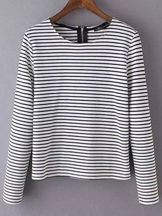 To find out about the Black White Round Neck Striped T-Shirt at SHEIN, part of our latest T-Shirts ready to shop online today! Nautical Stripes, Fashion Beauty, Cute Outfits, Black And White, My Style, Mens Tops, How To Wear, Shopping, Clothes