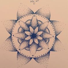 Tattoo idea, dotwork, mandala, my very first attempt. My own design, inspired on Javanese flower batik patterns. Marlies van der Meer.