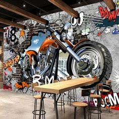 Graffiti Street Art Large Motorcycle Wallpaper for Home or Business – Graffiti … – streetart 3d Wallpaper Cars, Wallpaper Flower, 3d Wallpaper Mural, 3d Wall Murals, Graffiti Murals, Bedroom Murals, Home Wallpaper, Designer Wallpaper, Graffiti Quotes