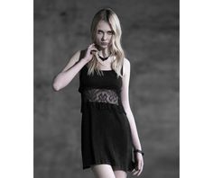 Sleeveless Lace Patchwork Black Steampunk Dress