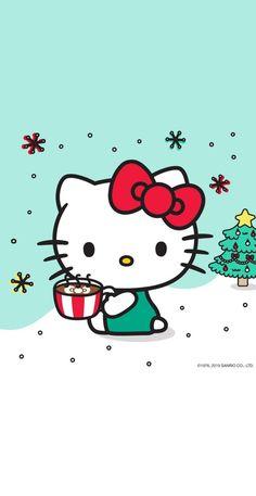 Hello Kitty Art, Hello Kitty Tattoos, Hello Kitty Themes, Hello Kitty Nails, Hello Kitty Birthday, Hello Kitty Iphone Wallpaper, Hello Kitty Backgrounds, Cute Backgrounds, Xmas Wallpaper