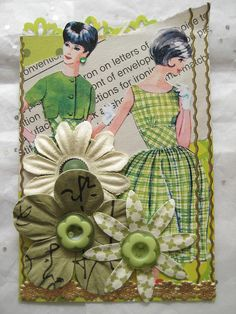Colors of the Rainbow ATC: Green - great way to use old vintage pattern fronts