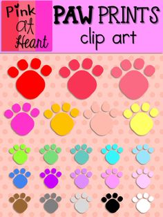 Paw Prints Clip Art from kac2877 from kac2877 on TeachersNotebook.com (25 pages)  - 22 png paw print images!