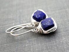 Lapis Lazuli Drop Earrings Bezel Wire Wrapped in by SaressaDesigns, $40.00