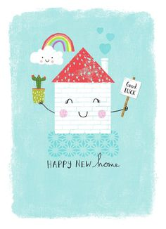 Joanne Cave | Advocate Art New Home Cards, House Of Cards, Happy Birthday Floral, Housewarming Card, Happy New Home, Christmas Drawing, Congratulations Card, Printable Cards, Sweet Home