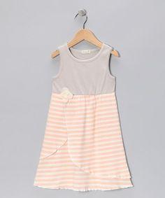 Peach & Gray Dress - zulily