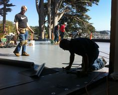 Applying the roofing to the theater addition, Pacific Maritime & Heritage Center, Newport, Oregon, 5 Oct 2012 Photo by Steve Wyatt