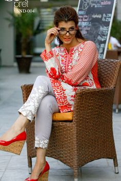 Printed Lawn Tunic with Embroidered Neckline - Sobia Nazir - Designer Modest Dresses, Simple Dresses, Casual Dresses, Suit Fashion, Fashion Pants, Fashion Dresses, Indian Attire, Indian Wear, Pakistani Outfits