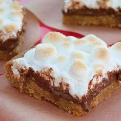 Easy S'mores Bars -sugar cookie/grahm cracker-butter base, chocolate chips, marshmallows