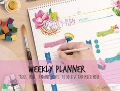 Digital Weekly Planner Notepad Printable by CutiesPrintable