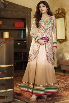 Bollywood DivA Shilpa Shetty Long Anarkali Stylish Salwar Kameez