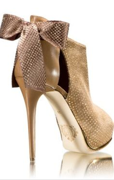 Luis Onofre ~ Leather+Suede Shootie w Heel Bow, 2-tone Tan 2015