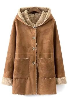 Khaki Faux Suede Hooded Long Sleeve Coat