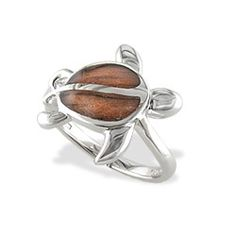 Sterling Silver Honu Ring with Koa Wood* Inlay from Na Hoku