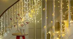 weihnachtlich Treppengeländer dekorieren hübsche lichterkette dekoidee beleuchtung #weihnachtsdeko #ideas #christmas #christmasdecoration
