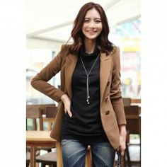 $13.42 Casual Lapel Double Breasted Good Cut Acrylic Spring Blazer For Women