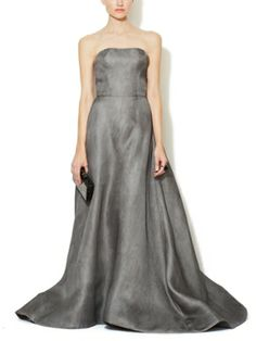 Designer Evening Gowns::: Reem Acra. Silk Strapless Ball Gown in new grey color, a classic style. Lorr