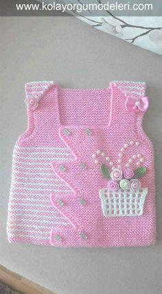 Flower Girl Vest Model - Örgü Modelleri - Flower Girl Vest Model - Knitting Models - is the Baby Pullover, Baby Cardigan, Crochet Baby, Knit Crochet, Viking Tattoo Design, Knitted Gloves, Baby Sweaters, Baby Girl Fashion, Baby Design