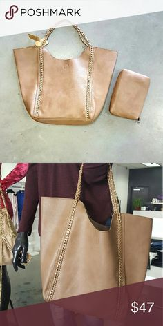 2in1 Chained Shopper Bag PU leather, magnetic top closure, zipper top closure on inside bag, inside zipper wall pocket on the back side inside, double open wall pocket on the front side. 21 w ? 4 d ? 15.5 h Bags Totes