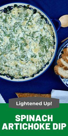 Spinach Artichoke Dip Recipe Lightened Up | The Foodie Affair Spinach Artichoke Dip, Creamy Spinach, Spinach Dip, Appetizer Recipes, Dinner Recipes, Appetizers, Snack Recipes, Snacks, Recipes Using Ground Turkey