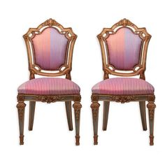 Louis XVI Side Chairs in Syrian Damascus Metallic Stripes, Pair | From a unique collection of antique and modern chairs at https://www.1stdibs.com/furniture/seating/chairs/