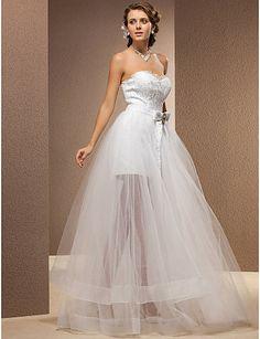 dois-em-um da bainha / coluna namorada do assoalho-comprimento do laço e vestido de noiva de tule - BRL R$ 854,68