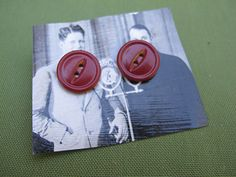 Red Button Earrings made with Vintage Buttons on Etsy, $5.00
