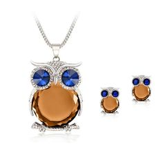Unique jewelry for her · Owl Motif Costume Jewelry Rhinestone Crystal  Jewelry Pendant and Earrings - Wanelo Gift Ideas Owl Necklace 0854fa802