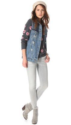 Wildfox Couture sweatshirt + denim vest