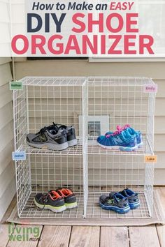 If you are tired of tripping over shoes all over the house, you will LOVE this brilliant, simple hack to keep kids' shoes organized! Kids Shoe Organization, Organizing Ideas, Cube Storage, Diy Storage, Kids Shoe Rack, Simple Hack, Easy Diys For Kids, Hanging Shoe Organizer, Homemade Cleaning Products