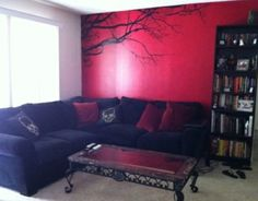 Love the red accent wall with the tree decal!! Want to do this!!l love love everything about this room.