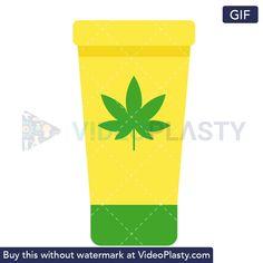 A GIF icon of a yellow marijuana lotion bottle