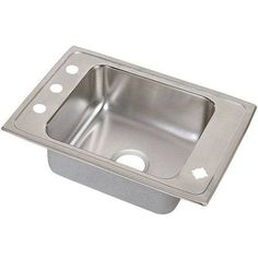 Elkay DRKADQ3119404 Lustertone Stainless Steel Single Bowl Top Mount Quick-Clip Sink with 4 Faucet Holes, Multicolor