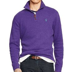 Polo Ralph Lauren Pullover french rib mockneck half zip sweater in purple